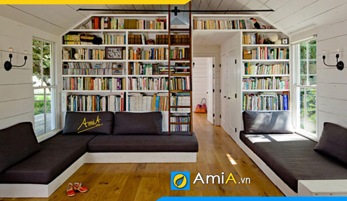 Sofa góc V kê phòng đọc sách còn có thể nằm thư giãn