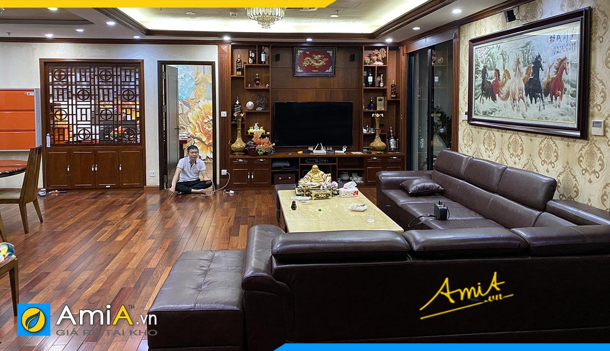 Bộ bàn ghế sofa góc cho nhà biệt thự của khách hàng làm hoàn toàn từ da thật đặt làm tại AmiA