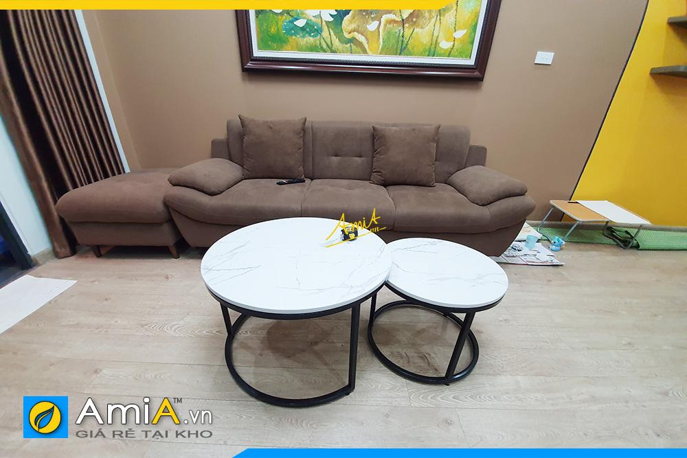 Hình ảnh bộ ghế sofa văng nỉ nhung đẹp hiện đại giá rẻ cho phòng khách