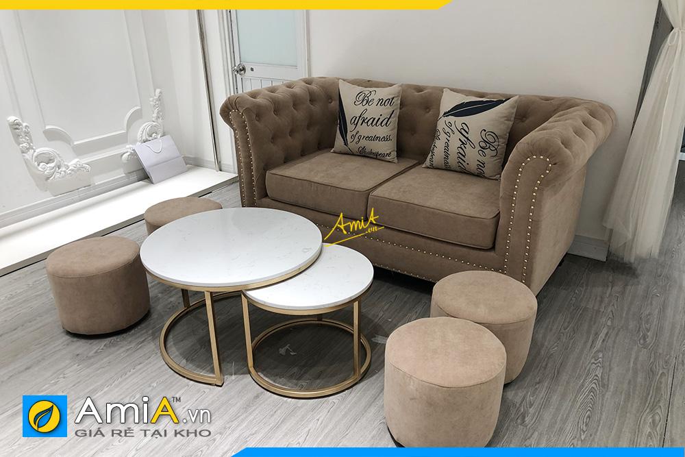 Bộ ghế sofa văng nỉ nhung kiểu dáng tân cổ điển cực đẹp và sang trọng