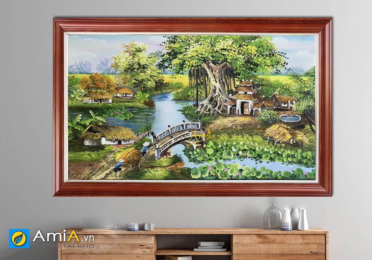 Hình ảnh Tranh đầm sen làng quê treo tường đẹp mã TSD 463