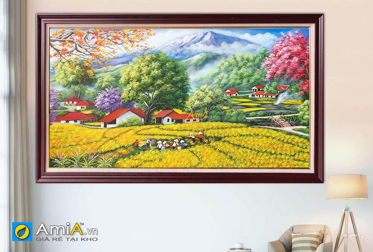 Hình ảnh Tranh đồng quê Việt Nam đẹp vụ mùa bội thu vẽ sơn dầu mã TSD 553