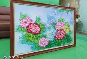 Hình ảnh Tranh hoa mẫu đơn vẽ sơn dầu theo yêu cầu tại AmiA mã tsd 391