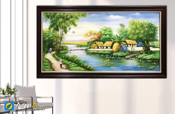 Hình ảnh Tranh làng quê đồng quê Nam Bộ với hình ảnh cây cầu khỉ tren dông mã TSD 552