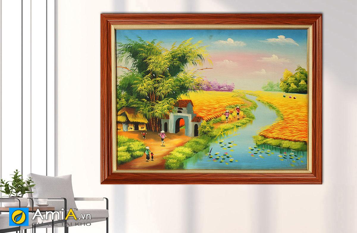 Hình ảnh Tranh làng quê đồng quê Việt Nam cánh đồng lúa chín mã TSD 357a