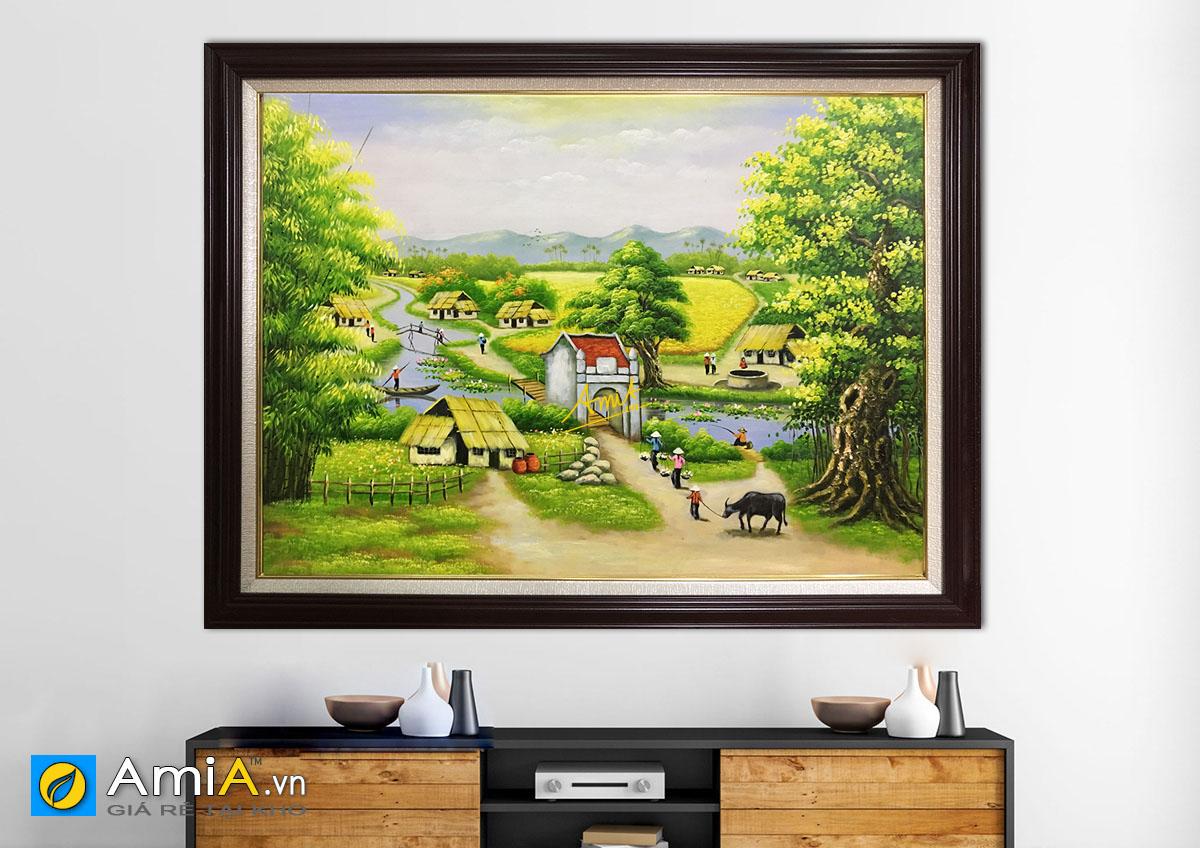 Hình ảnh Tranh làng quê đồng quê Việt Nam vẽ sơn dầu mã TSD 378b