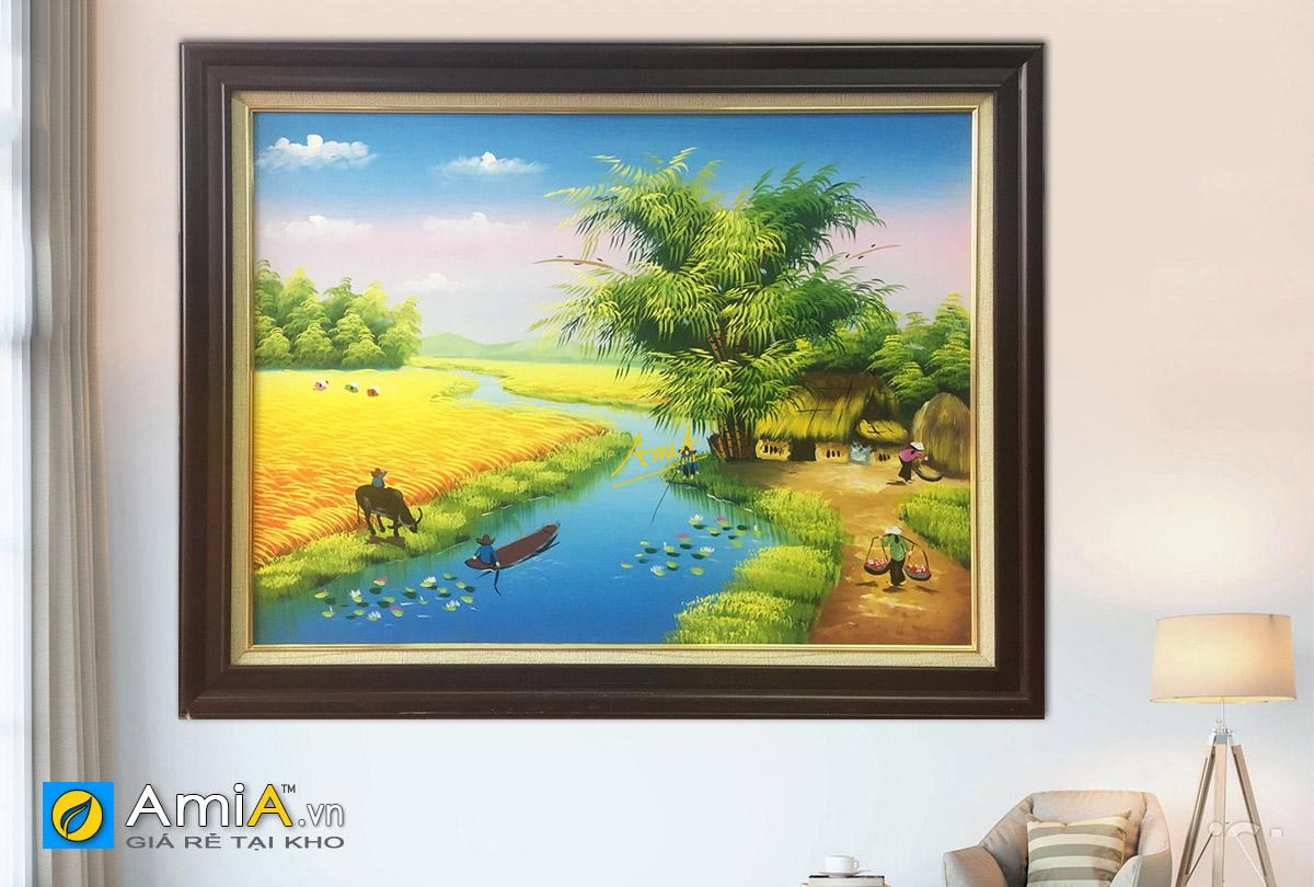 Hình ảnh Tranh làng quê đồng quê Việt Nam vụ mùa bội thu đẹp mã TSD 360a