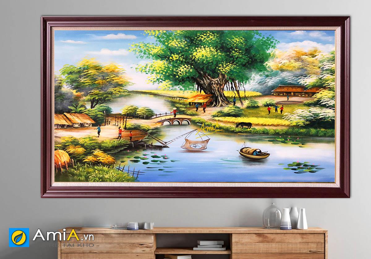 Hình ảnh Tranh làng quê Việt Nam treo tường đẹp ý nghĩa mã TSD 543
