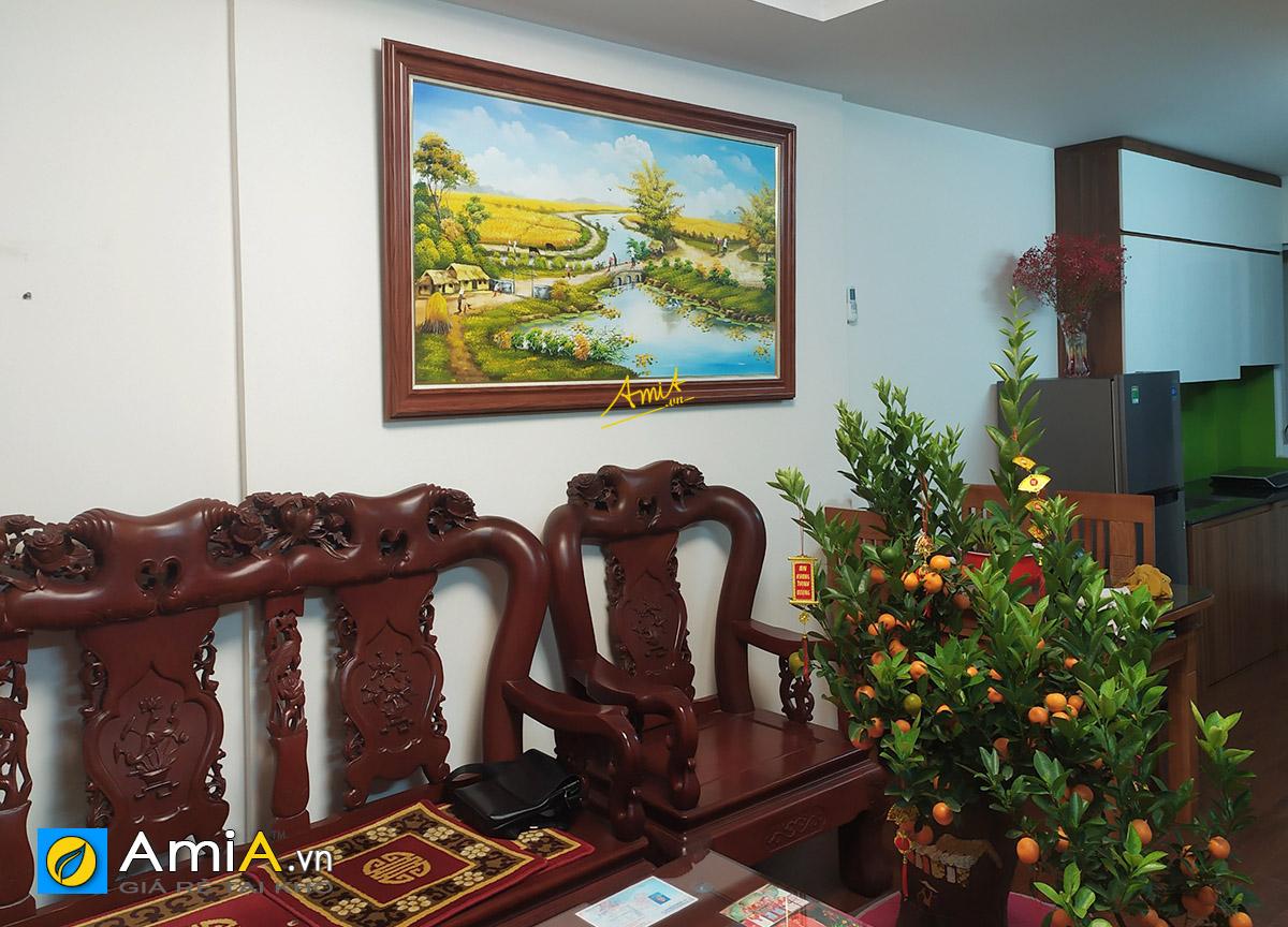 Hình ảnh Tranh làng quê Việt Nam vẽ sơn dầu treo tường mã TSD 555