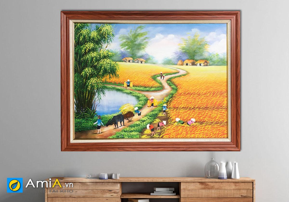 Hình ảnh Tranh phong cảnh cánh đồng lúa chín vàng mã TSD 326