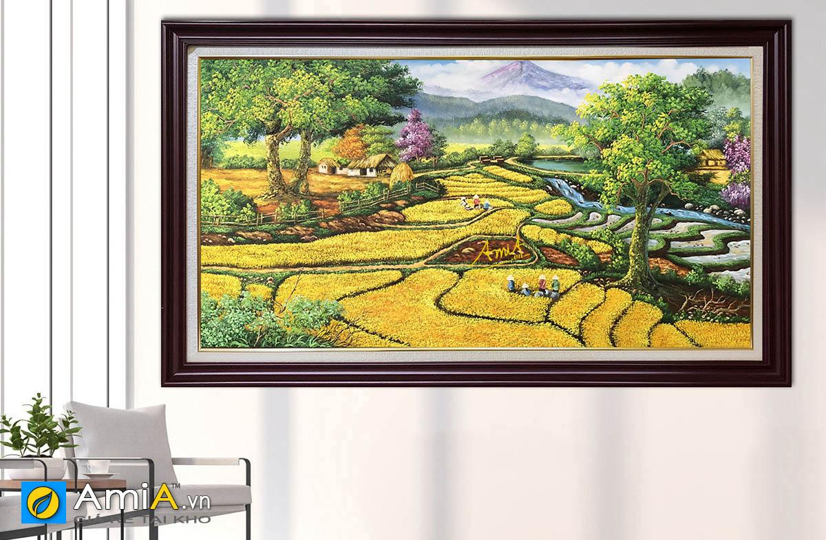 Hình ảnh Tranh phong cảnh đồng quê Việt Nam cánh đồng lúa chín mã TSD 562