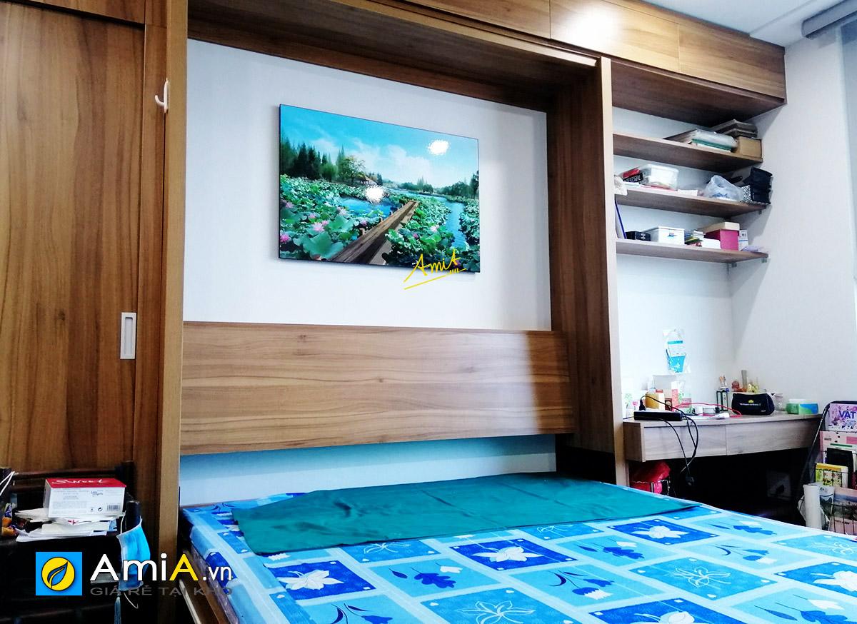 Hình ảnh Tranh phong cảnh hồ sen đẹp treo tường phòng ngủ mã 1343