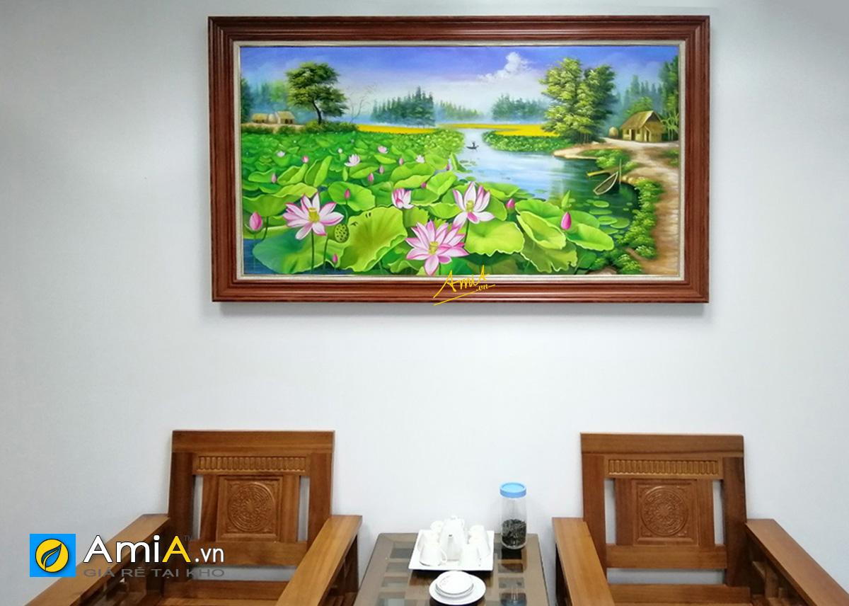 Hình ảnh Tranh phong cảnh hồ sen làng quê Việt Nam mã TSD 432