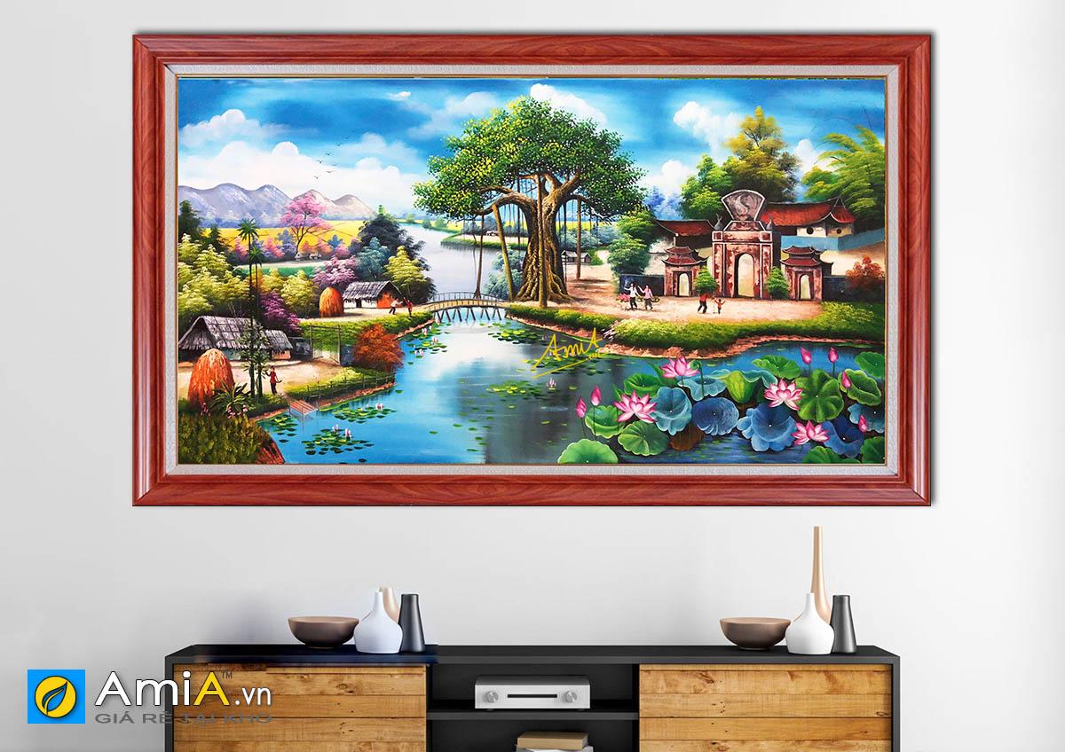 Hình ảnh Tranh phong cảnh làng quê hồ sen đẹp treo tường mã TSD 431