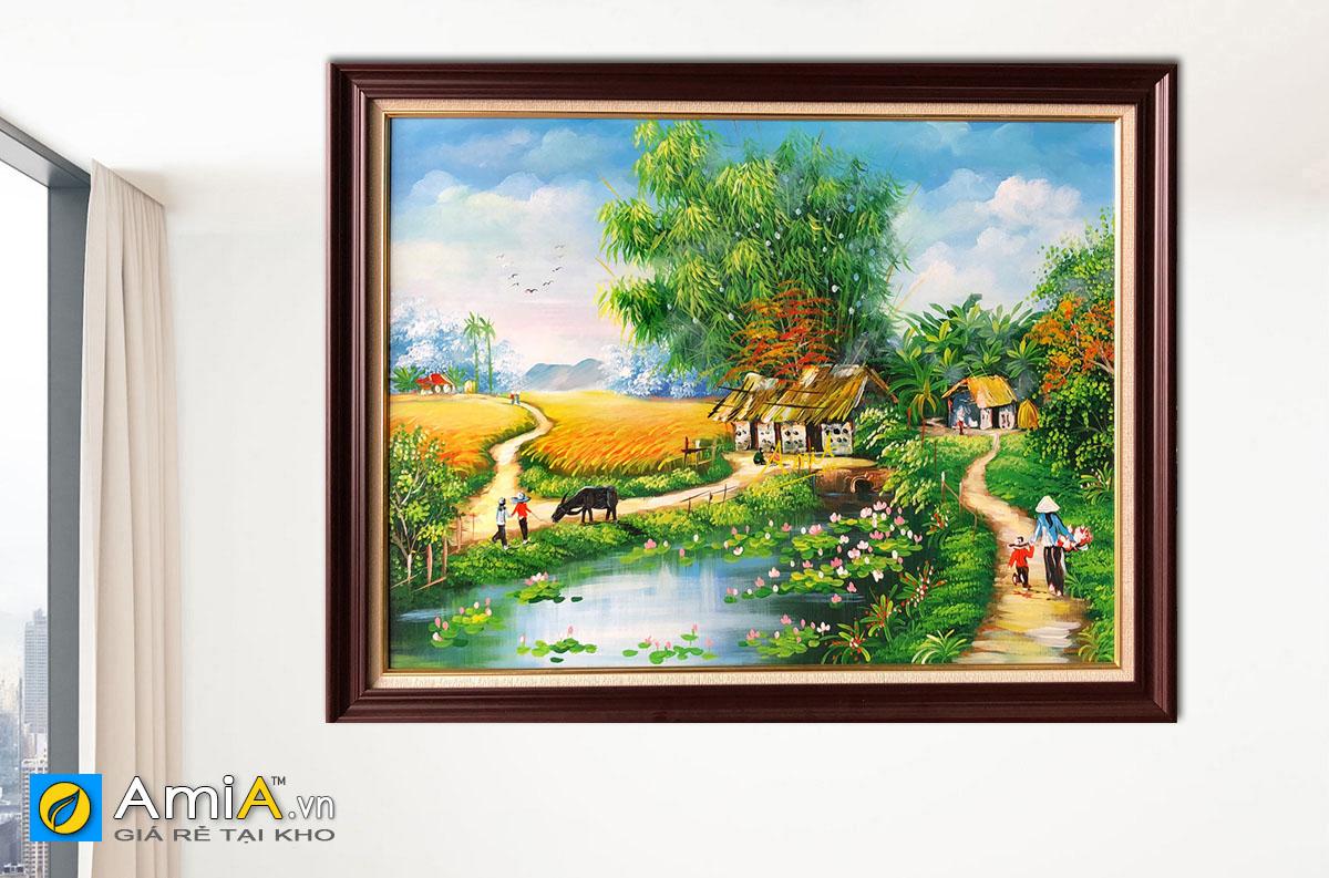 Hình ảnh Tranh phong cảnh làng quê hồ sen đẹp vẽ sơn dầu mã TSD 545