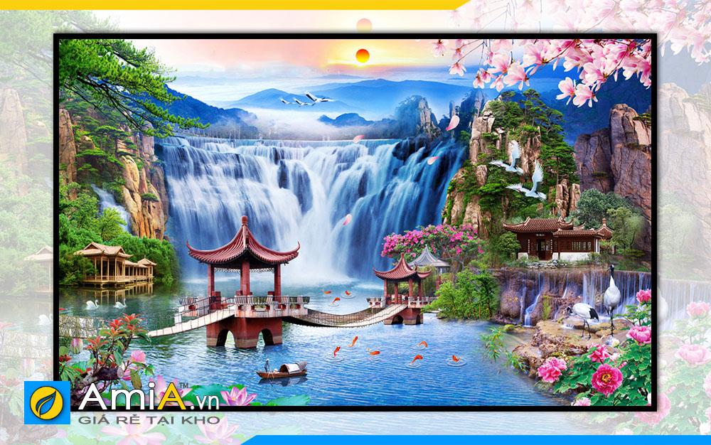 Hình ảnh Tranh phong cảnh thác nước sơn thủy hữu tình OP18696775