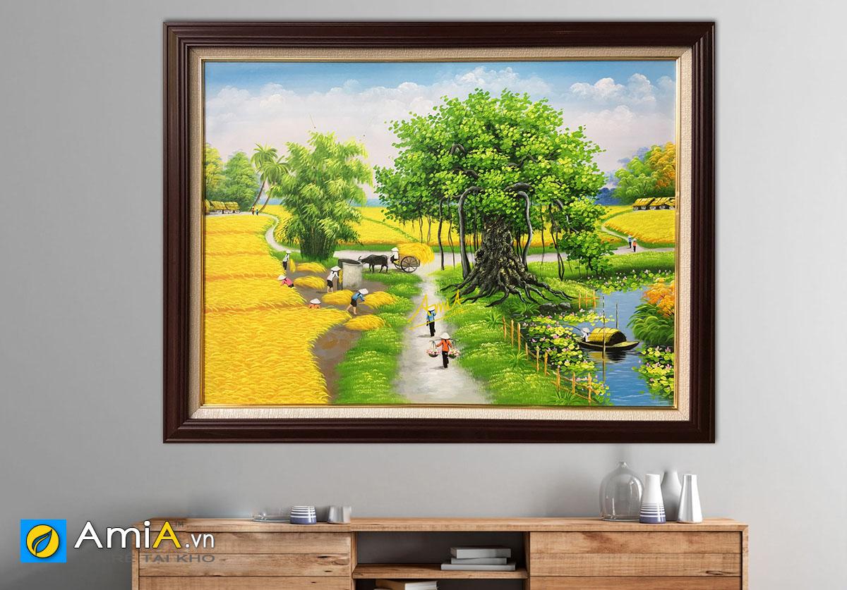 Hình ảnh Tranh sơn dầu đồng quê Việt Nam vụ mùa bội thu mã TSD 368b
