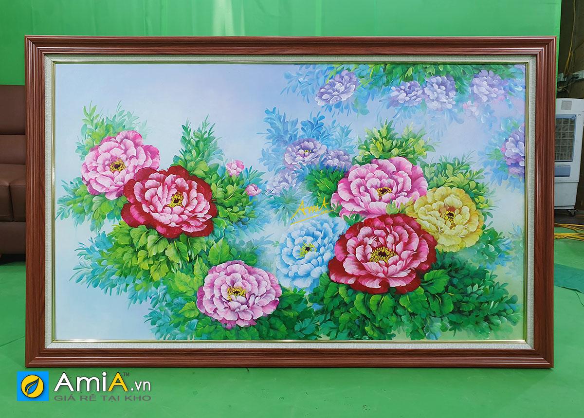 Hình ảnh Tranh sơn dầu hoa mẫu đơn vẽ theo yêu cầu chụp tại AmiA mã tsd 391