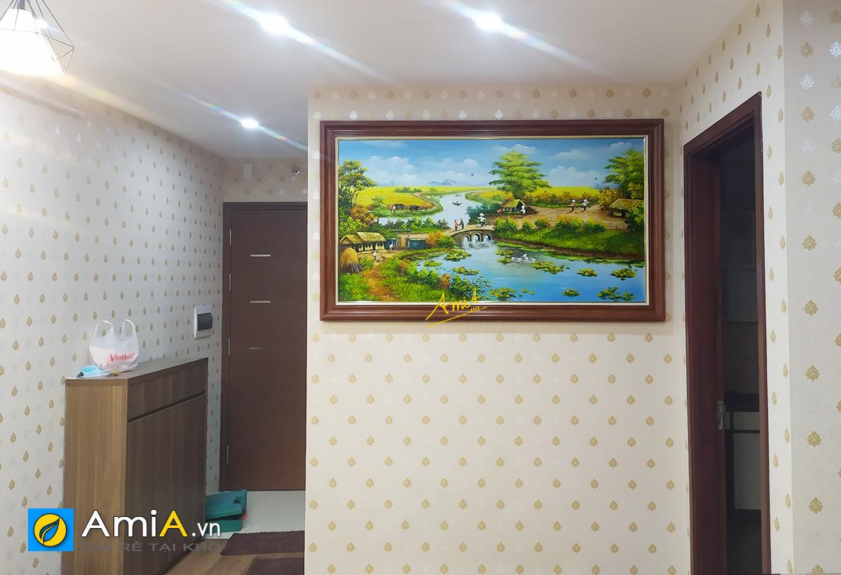 Hình ảnh Tranh sơn dầu làng quê đẹp ý nghĩa treo tường mã TSD 555