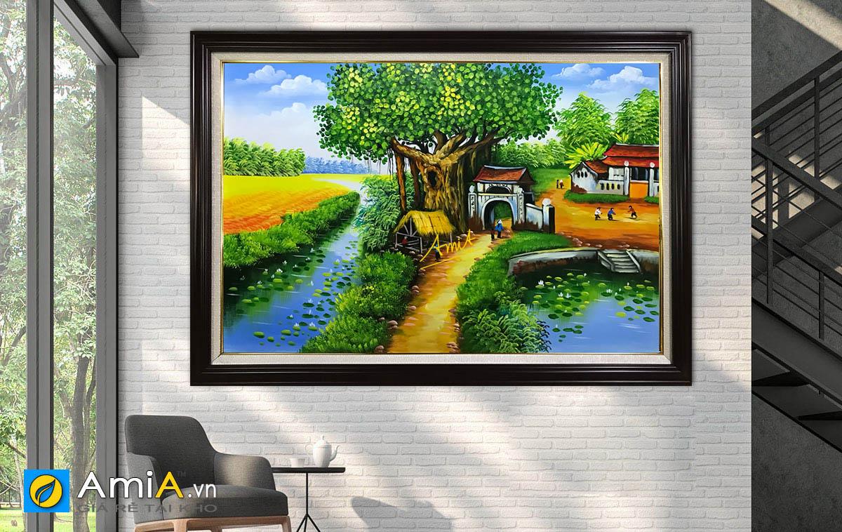 Hình ảnh Tranh sơn dầu làng quê Việt Nam đẹp mã TSD 411