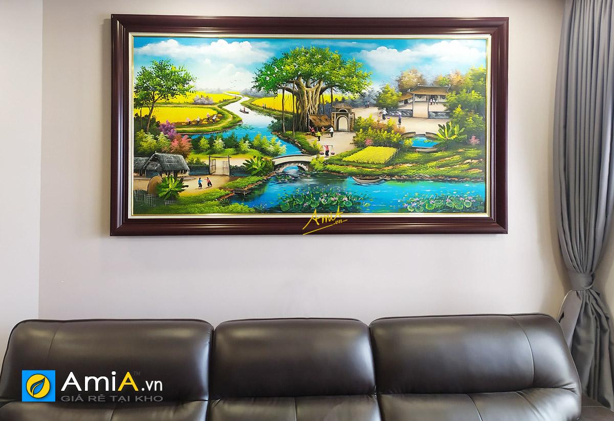 Hình ảnh Tranh sơn dầu làng quê Việt Nam treo phòng khách mã TSD 431b