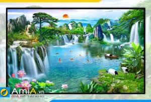 Hình ảnh Tranh thác nước sơn thủy hữu tình treo tường đẹp OP17173406