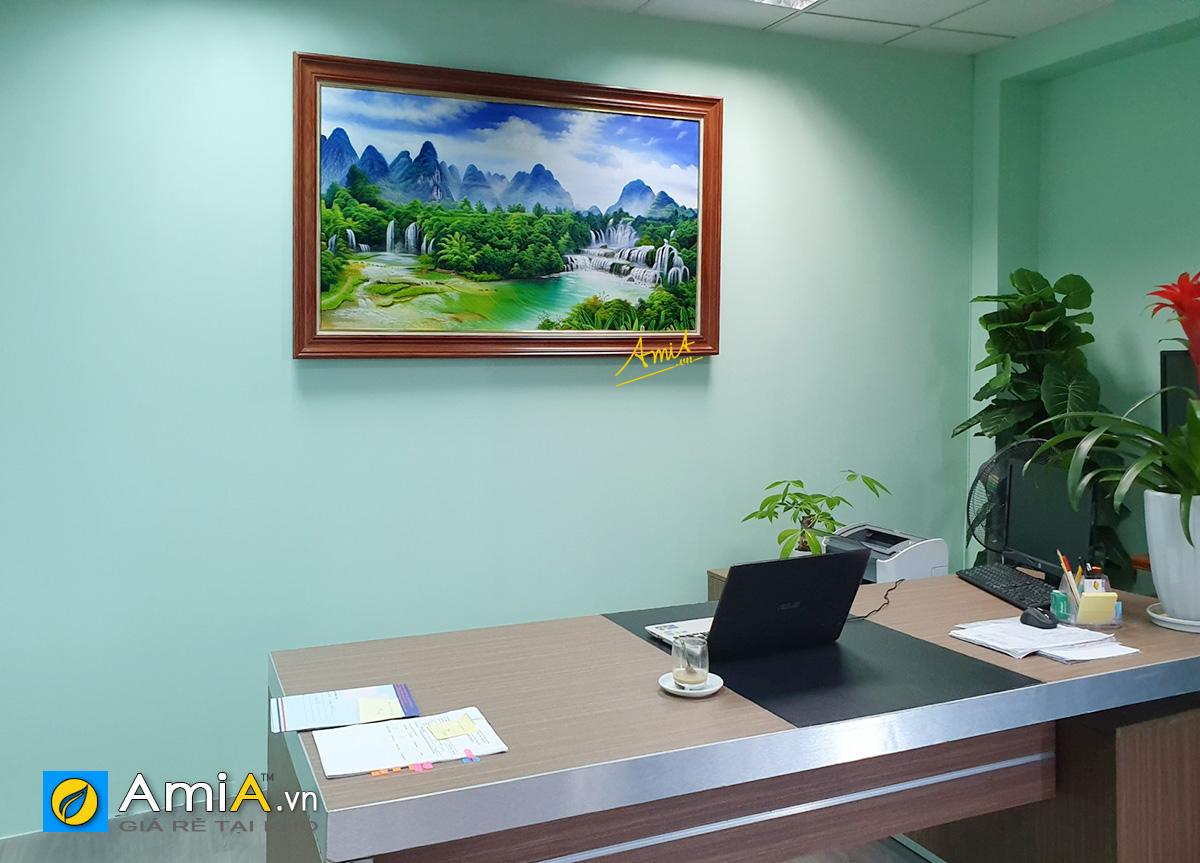 Hình ảnh Tranh thác nước vẽ sơn dầu treo tường phòng làm việc mã TSD 580