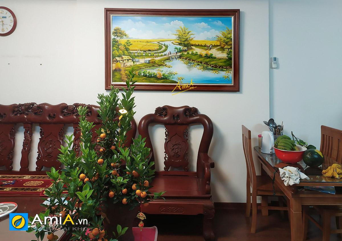 Hình ảnh Tranh treo phòng khách chủ đề làng quê Việt Nam mã TSD 555