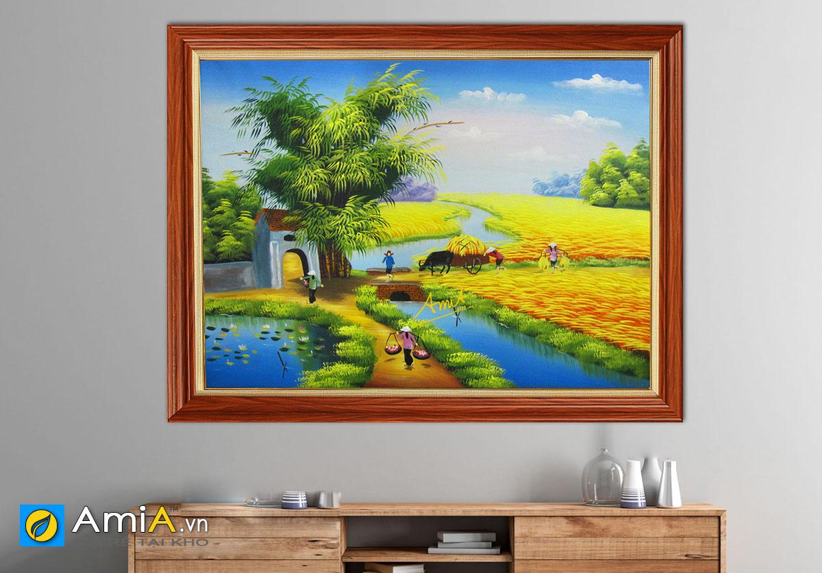 Hình ảnh Tranh treo tường đồng quê Việt Nam vụ mùa bội thu mã TSD 358