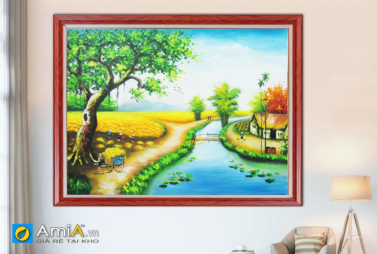 Hình ảnh Tranh treo tường phong cảnh làng quê đồng quê mã TSD 247