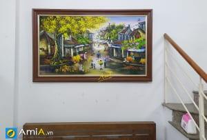 Hình ảnh Tranh treo tường phòng khách phố Hà Nội xưa vẽ sơn dầu mã tsd 521