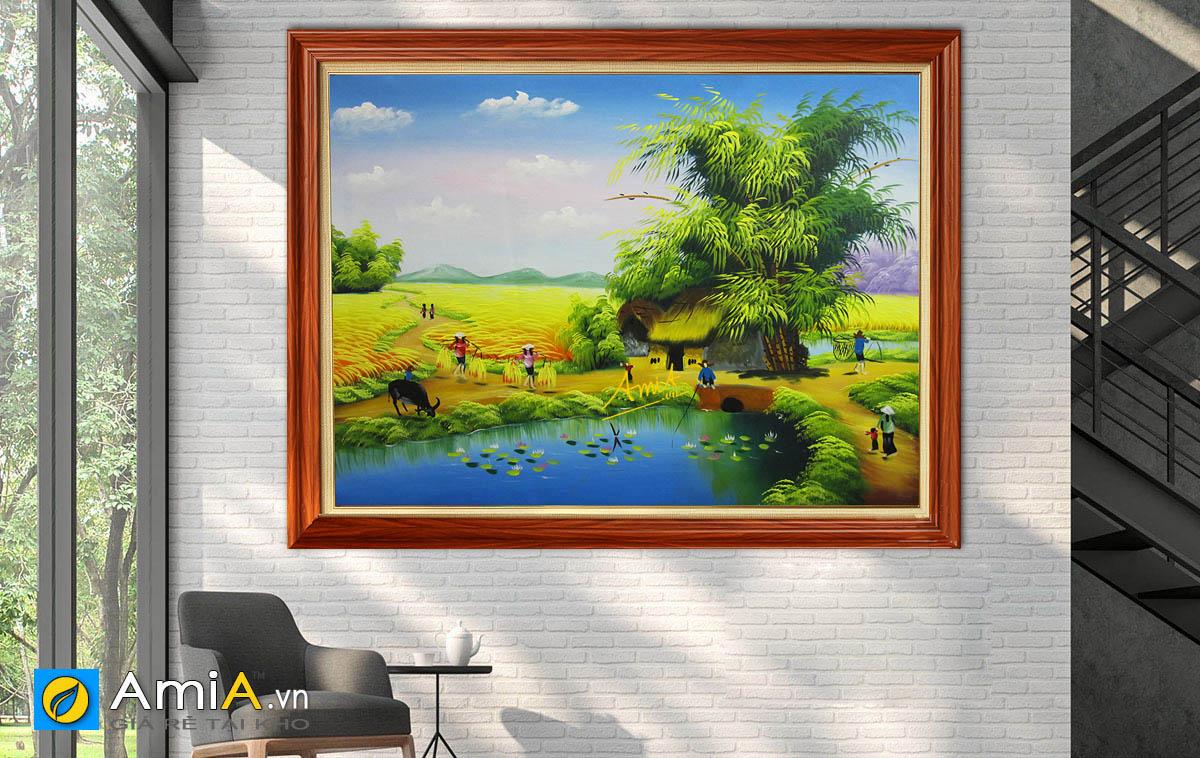Hình ảnh Tranh vẽ phong cảnh đồng quê làng quê Việt Nam mã TSD 355
