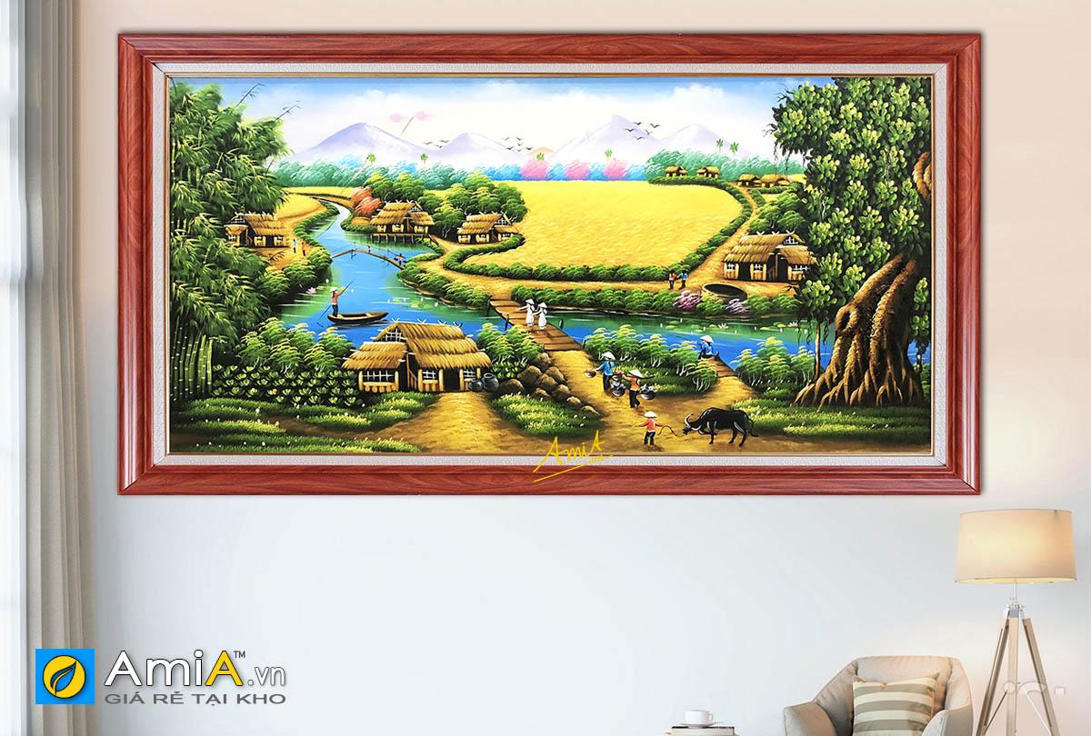 Hình ảnh Tranh vẽ phong cảnh làng quê đồng quê Việt Nam đẹp mã TSD 508