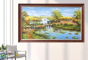 Hình ảnh Tranh vẽ phong cảnh làng quê Việt Nam đẹp mã TSD 555