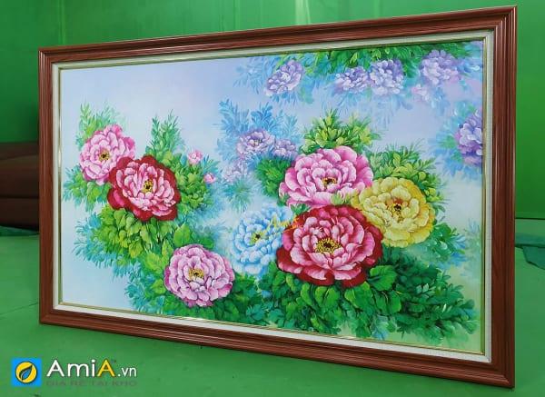 Hình ảnh Tranh vẽ sơn dầu hoa mẫu đơn 1 tấm chụp thực tế tại AmiA mã tsd 391