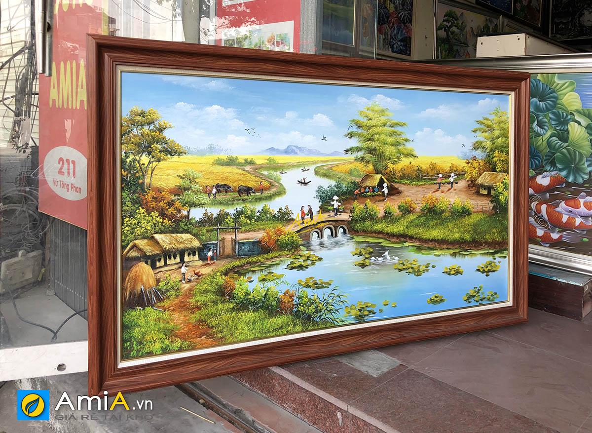 Hình ảnh Tranh vẽ sơn dầu làng quê Việt Nam đẹp mã TSD 555
