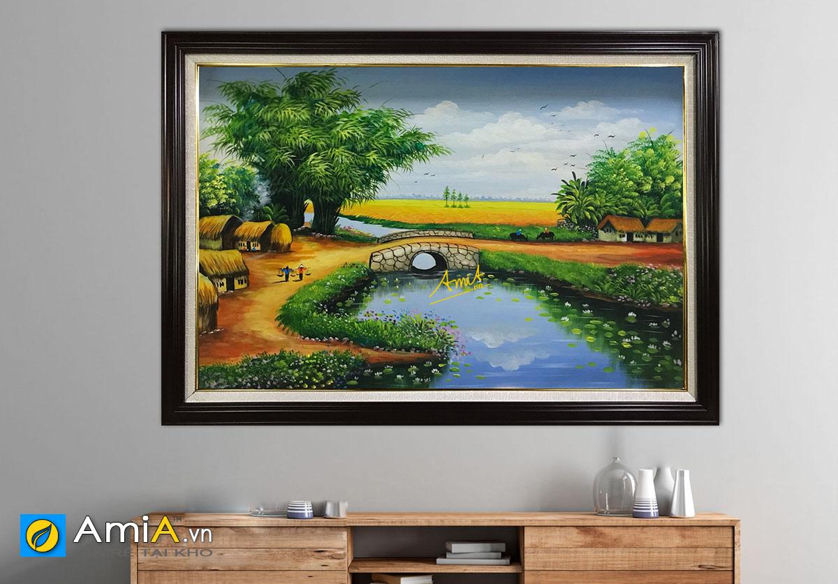 Hình ảnh Tranh vẽ sơn dầu phong cảnh làng quê Việt Nam mã TSD 413
