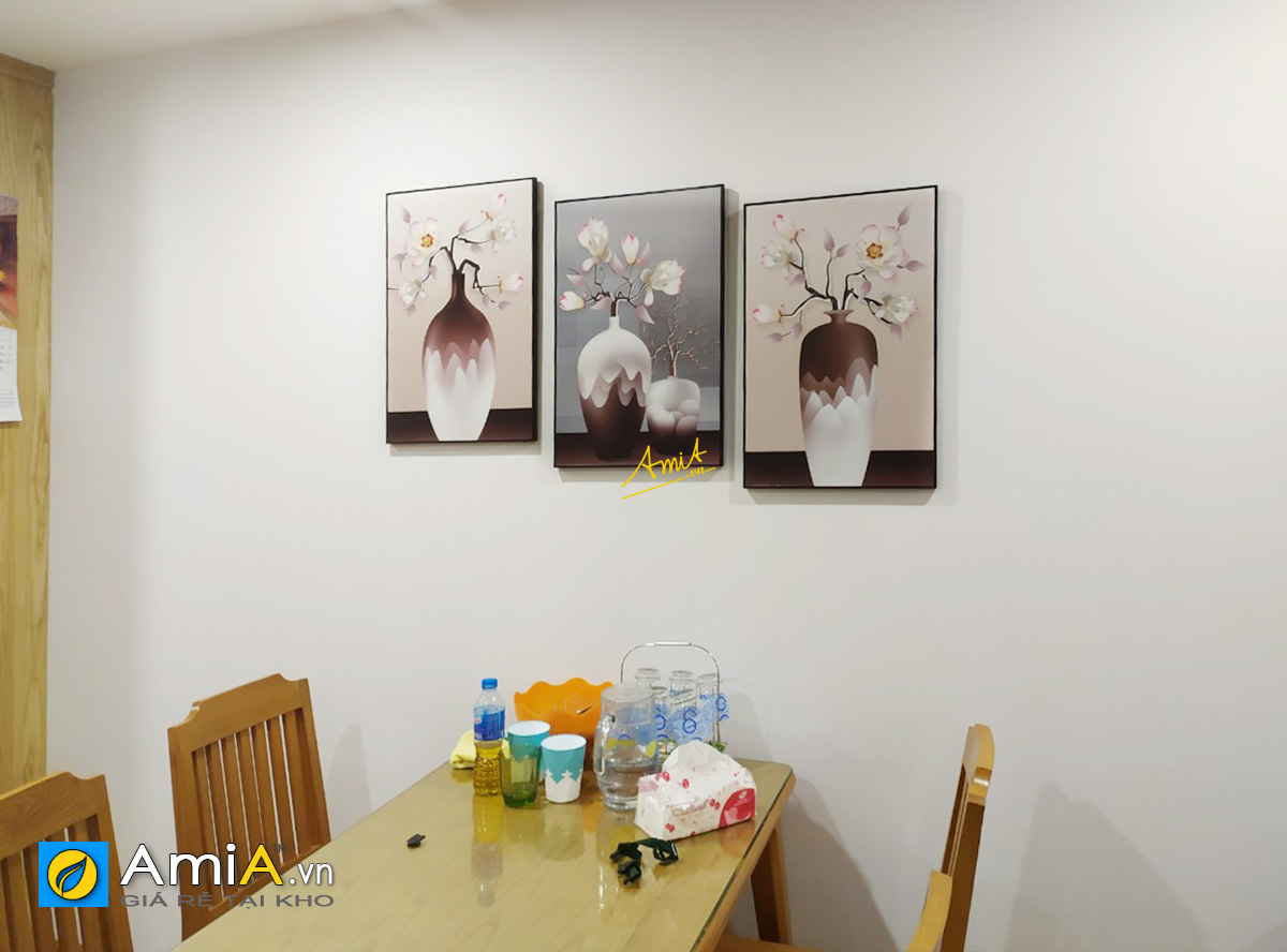 Hình ảnh Bộ tranh bình hoa đẹp treo tường bàn ăn nhà bếp mã CV05