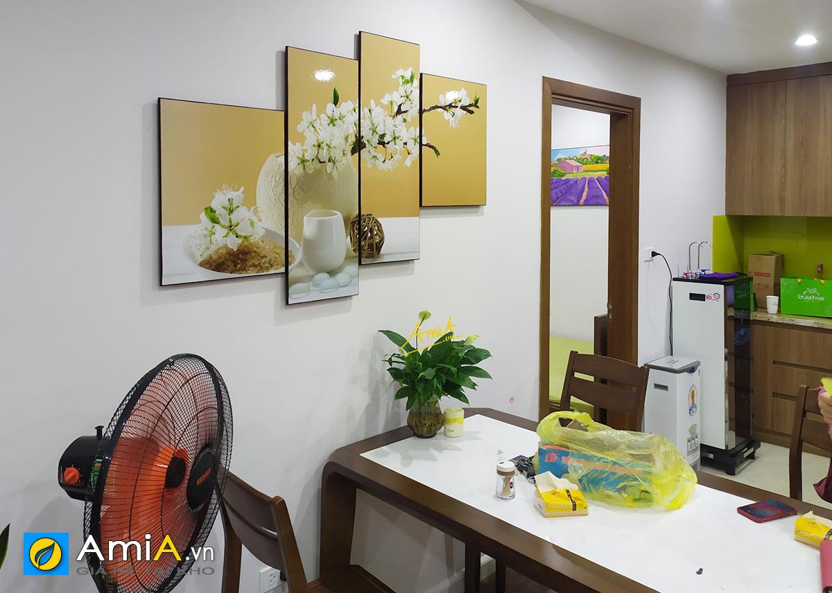 Hình ảnh Bộ tranh bình hoa trắng trang trí bàn ăn đẹp hiện đại mã 1258