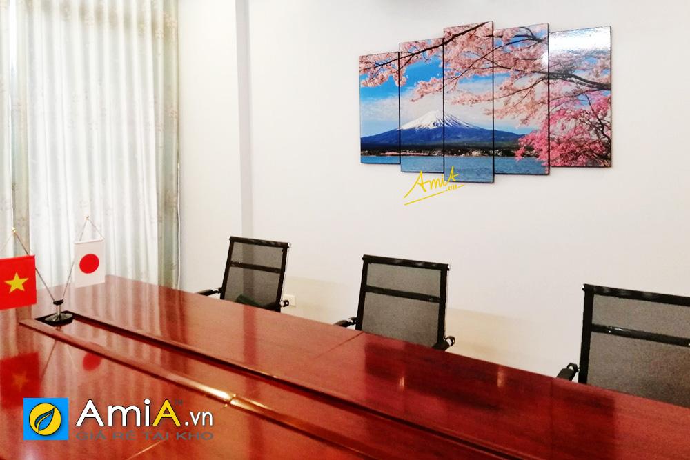 Hình ảnh Bộ tranh núi Phú Sĩ hoa anh đào treo tường phòng họp đẹp mã AmiA 1429