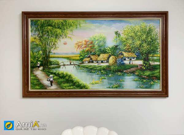 Hình ảnh Bức tranh phong cảnh làng quê Việt Nam vẽ sơn dầu treo tường phòng ăn mã TSD 552