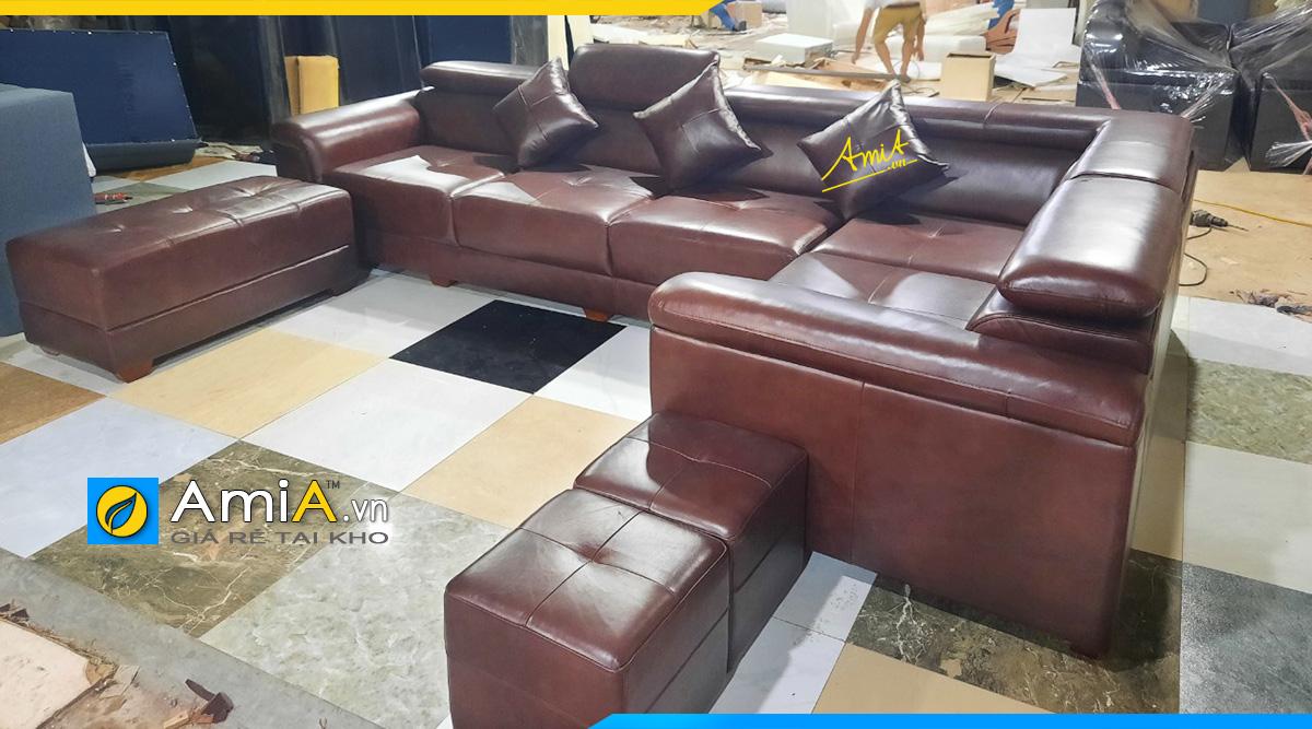 Hình ảnh thực tế tại xưởng- Ghế sofa góc chữ L với kích thước 1m9 * 3m2 kèm 1 đôn lớn và 2 đôn nhỏ làm bằng da thú tự nhiên đẳng cấp