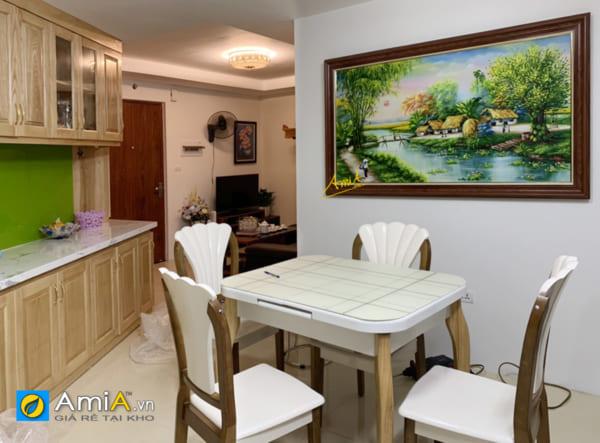 Hình ảnh Mẫu tranh sơn dầu làng quê Việt Nam đẹp mộc mạc treo bàn ăn đẹp sang trọng mã TSD 552