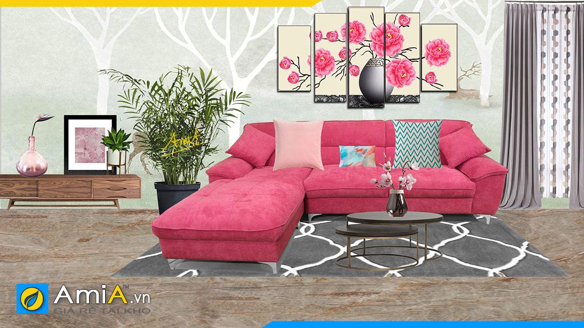Mẫu ghế sofa góc chữ L màu hồng hợp phong thủy mệnh Hỏa