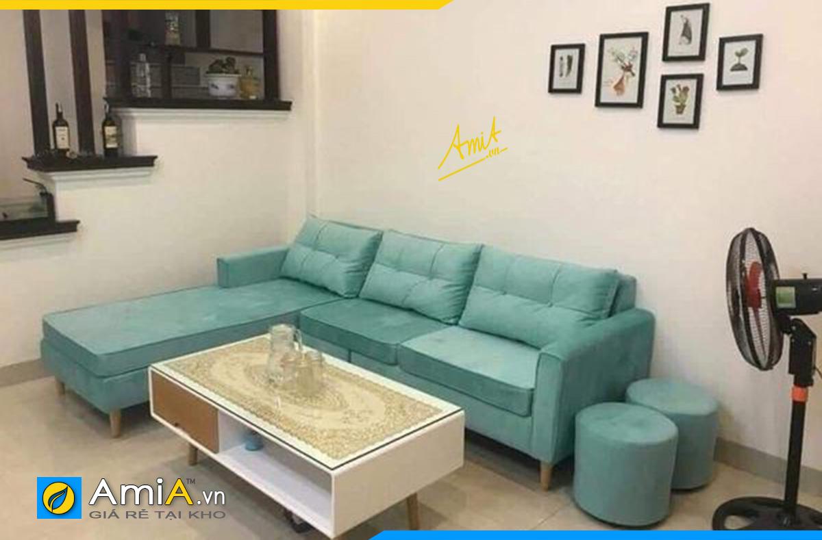 Ghế sofa góc màu xanh tượng trưng cho mệnh Mộc