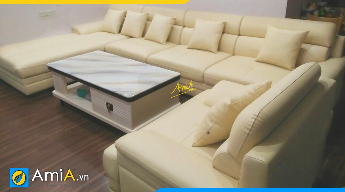 Bộ ghế sofa góc chữ U kê tại nhà khách hàng ở Trần Cung với kích thước 1m2 * 3m2 * 2m