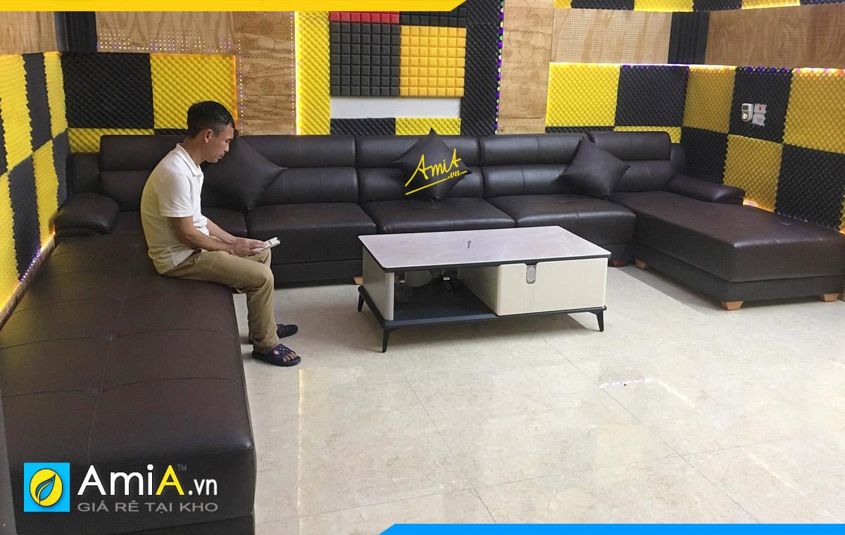 Hình ảnh thực tế mẫu ghế karaoke gia đình khách hàng ở Thường Tín đặt làm tại xưởng AmiA