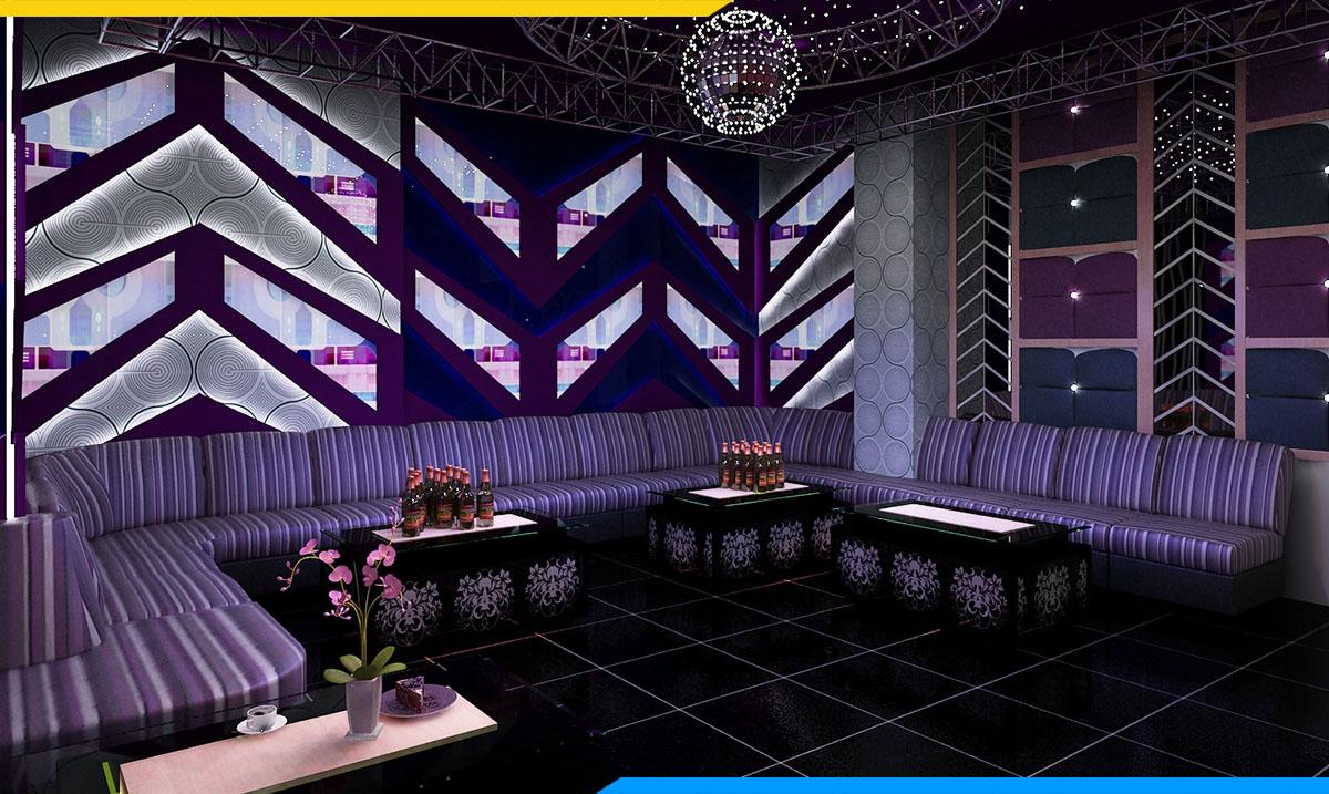 Không gian quán hát với gam màu tím đẹp- bộ ghế sofa được hòa lẫn với căn phòng