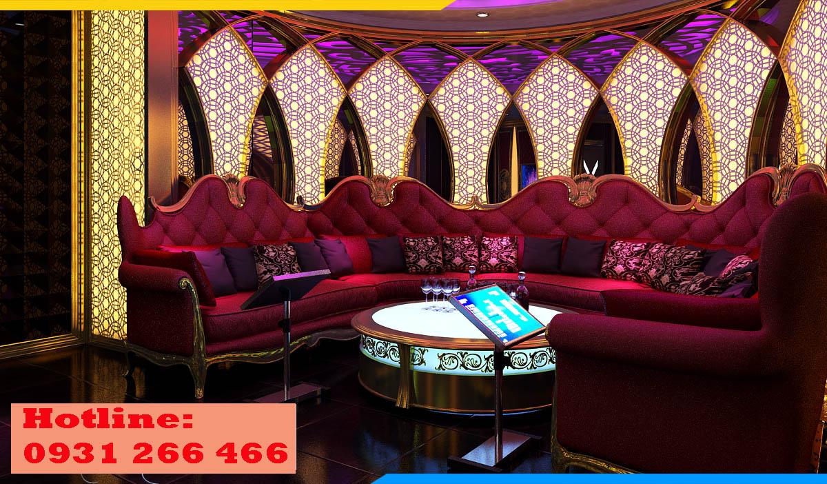 Bộ ghế sofa góc karaoke tân cổ điển hoành tráng, đẳng cấp trong không gian kê
