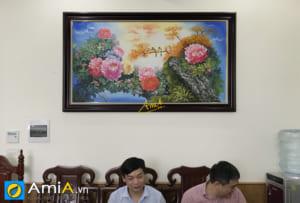 Hình ảnh Tranh hoa mẫu đơn treo tường phòng làm việc khu vực tiếp khách TSD 444